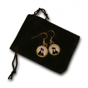 Brass and Glass Cat Couple Earrings
